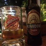 enjoying our first tasting of local Cambodian Beer - we agree!
