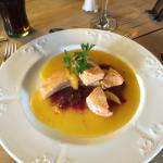 Salmon Fillet in orange and cranberry glaze - there were vegetables too