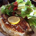 Tilapia Salad with two enormous pieces of fish, seared with a lemon/olive oil/garlic dressing.