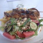 The chicken kabob plate