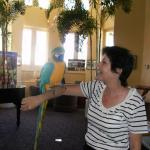 M in August 2010 with Miss Cody, the resident macaw
