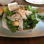 Oven-roasted turkey and brie sandwich, caesar salad with chicken