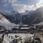 Room view to Hintertux, gondola valley station and Hintertux glacier