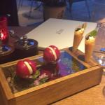 pre- starter - rhubard macaroan and and fishy pastry with caviar ( and it's free!)