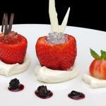 Fresas de Aranjuez confitadas con nata y mascarpone