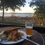 My monthly beer and fish and chips while watching the sunset