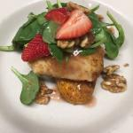 pretzel crusted walleye, spinach salad with strawberries, rhubarb gastrique