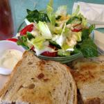 Tuna & Swiss Melt, side salad.