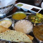 Half of the Vegetarian Thali. Sorry, I ate another half before I made the photo. Couldn't wait!