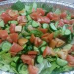 House salad with lettuce, cucumbers, and tomatoes.