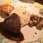 Petite Filet Mignon with garlic mash and maryland crab cake sautee mushrooms