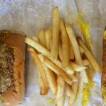 Regular hotdog, fries and Coleslaw hotdog