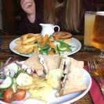 Brie and cranberry sandwich and pulled pork pie with chips and veg- yummy!