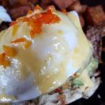 Avocado, crab cake,eggs Benedict yummmmm