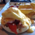 Oceanside Benedict - 2 poached eggs, smoked salmon, Dungeness crab, baby shrimp