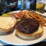 Happy Hour 1/12 lb Burger, fries, and beer - great deal!