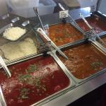 Colourful curries, beautiful flavour tender meat, very nice little nook for a quick lunch