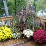 The small deck in fall at the resturant