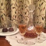 Complimentary sherry and handmade chocolates!