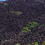 Mountain of black stones
