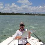 Michelle Nicole Lowe, fly fishing for bonefish in Green Turtle Cay, Bahamas