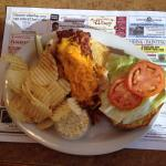 OPENED FACED GRILLED CHICKEN, BACON AND CHEDDAR CHEESE SANDWICH WITH COLE SLAW, PICKLE AND CHIPS