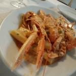 pasta with king prawns tomato sauce and cream! another amazing plate!