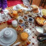 A typical breakfast for two served every day of our stay at the Riad Anabel