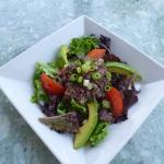 Excellent red quinoa tabbouleh with lemony salad, avocado and tomatoes!