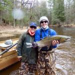 Fishing on the Pere Marquette river with our guide, Frank, from PM Lodge!