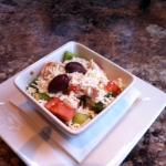 Individual Greek salad with the platter.