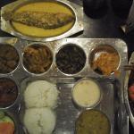 Odiya veg thali, kankada jhola (crab in gravy) & pohala (parshe) besara (mustard gravy)