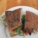 Amazing Garden Vegetable sandwich packed with delicious fresh veggies and to die for bread!  Ser