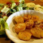Pan-seared scallops and Caesar salad