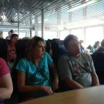 Enjoying the AC salon in the ferry.