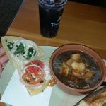 Frontega chicken panini w/bistro French onion soup