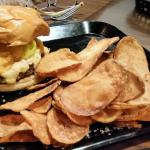 Jackson Burger w/ house made pimento cheese, banana peppers, bacon, & honey BBQ potato chips.