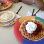 strawberry waffle and cheese grits