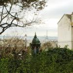 view of the Eiffel tower from Montmartre