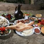 A meze of starters with a jug of Saperavi