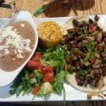 Alambre Beef Tacos. OMG delicious!!! Awesome refried beans!