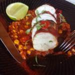 Chicken with corn and chirizo succotash