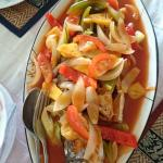 fish in sweet sour sauce - just great Khmer-Thai Food - not spicy, if you do not want !