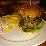 Delicious big burgers, view on hôtel and restaurant