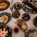 Mains, including stuffed vine leave, meat shashlik and meat patties