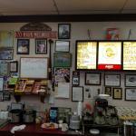 Menu board behind counter