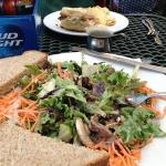 Carmelized pecan salad w homemade bread; Cuban sandwich in background