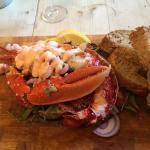 Isle of Wight lobster (half) with home made bread and garlic butter.