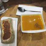Butternut squash soup with chicken wrap