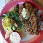 Grilled salmon with wild rice and tartar sauce